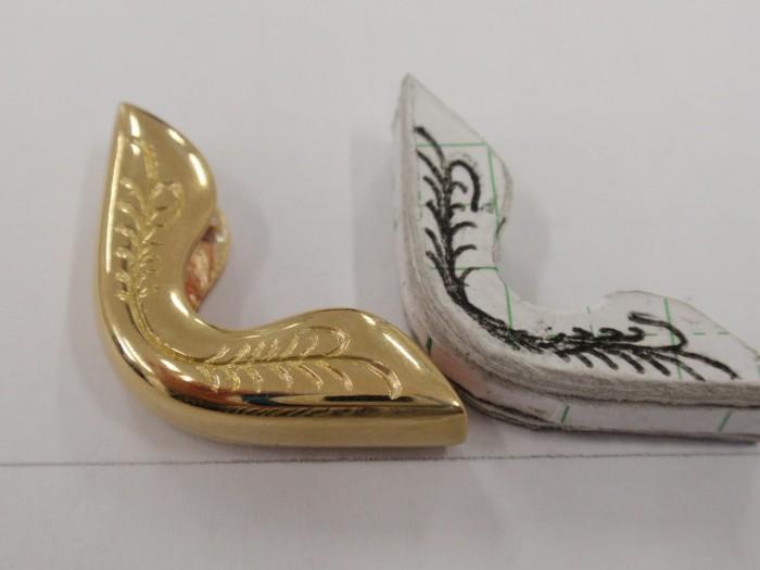 財布のコーナー用金具を真鍮で100個製作